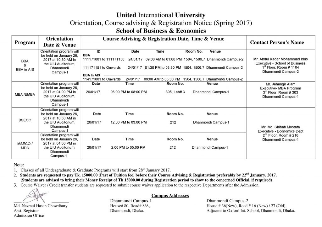 Notice for Course Advising & Orientation program for Spring 2017 admitted students 171-SOBE