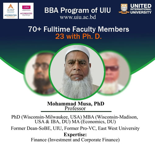 Faculty Strength of UIU BBA Department